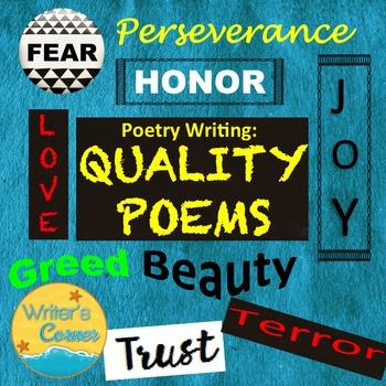 Poetry Writing: Defining A Quality, Sub Plan, Creative Wri
