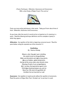 Poetry Writing Techniques:  Alliteration, Assonance & Consonance