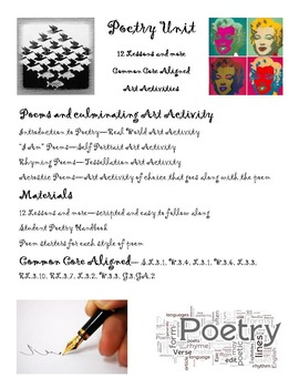 Poetry Writing Unit 12+ Lessons, 4 dif. styles, poem handbook, CCSS aligned