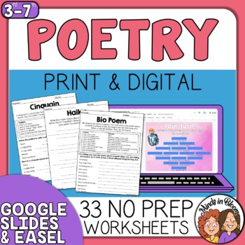Poetry Writing 21 Poem Patterns Google Classroom Distance Learning Packet