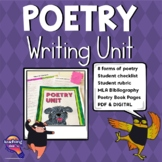Poetry Writing Unit: Includes 8 Forms of Poetry & Templates for Book of Poems