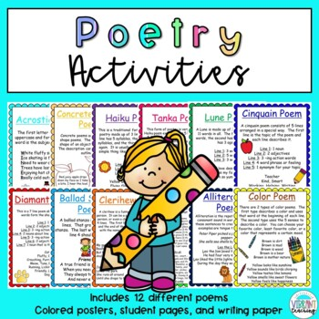 Poetry Writing Unit: Posters, Student Activities, and Writing Paper