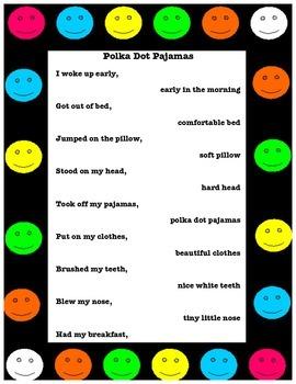 "Poetry and Adjectives with ""Polka Dot Pajamas"""