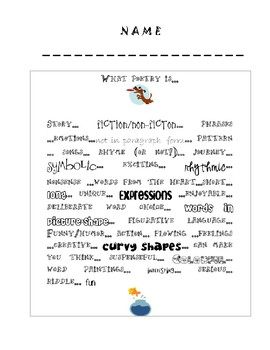 Poetry and Figurative Language Vocabulary and Notes