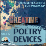⭐Introduction to Poetry Literary Devices Creative Activity Applying Devices