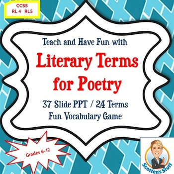 Poetry and Literary Terms Presentation & Vocabulary Game