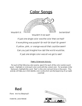 Poetry and Song Book Weekly Homework