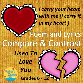 Poetry Compare and Contrast Used To Love You and i carry your heart, Sub Plan