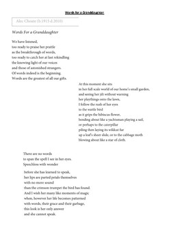 Poetry as a stimulus for writing - Year 11