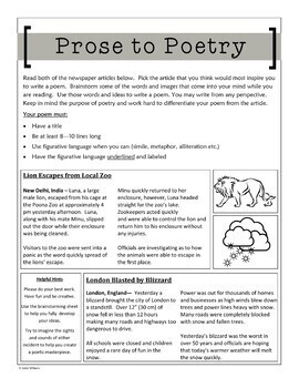 Poetry Writing Activity - Comparing Prose to Poetry
