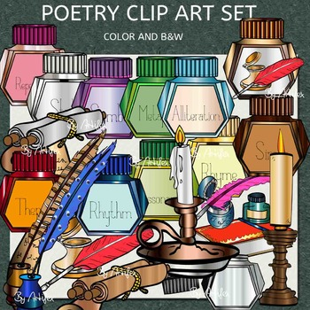 Poetry clip art set- Color and B&W- 60 items!