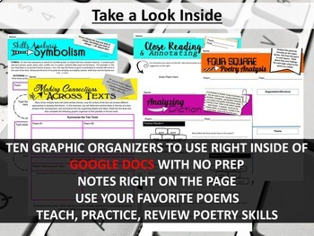 Digital Poetry Worksheets, Virtual Graphic Organizers, Google Drive