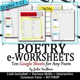 Digital Poetry eWorksheets Analysis & Comprehension for An