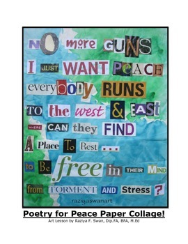 Poetry for Peace!! Mixed Media Collage!! Art Lesson!!
