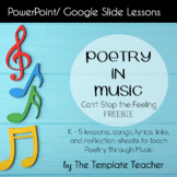 Poetry in Music Slideshow Lesson Freebie with Can't Stop this Feeling