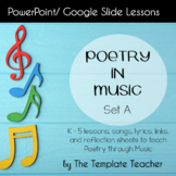 Poetry in Music Slideshow Lesson for 10 songs Set A