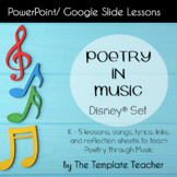 Poetry in Music Slideshow Lesson for 10 songs from Children's Movies