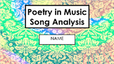 Poetry in Music - Song Analysis Writing Project (Rubric Included)