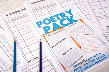 Poetry in Speech Therapy: Short & Fun Writing Tasks - Poems in Speech