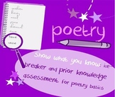 Introduction to Poetry BINGO ice-breaker: interactive game, show prior knowledge