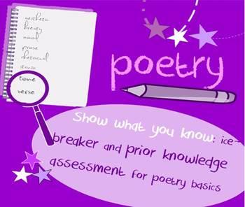 Introduction to Poetry BINGO ice-breaker: interactive game