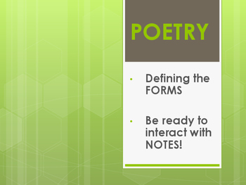 Poetry notes, examples, and project idea