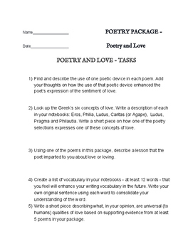 Poetry of Love / Romance - Reading Package with 6 assignments - great poems