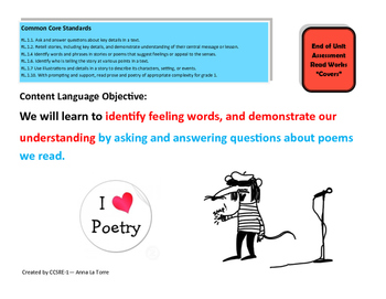 Poetry task card- Objective and activity