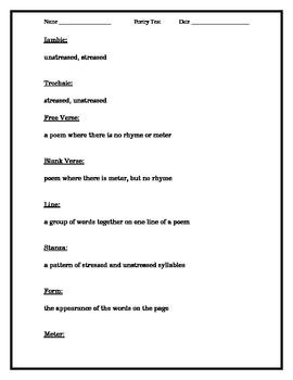 Poetry terminology test