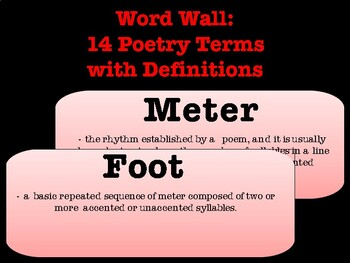 Poetry terms Word Wall