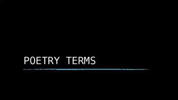 Poetry terms: slide presentation and notes organizer