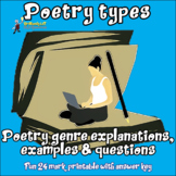 Poetry types printable handouts with definitions, examples, questions!