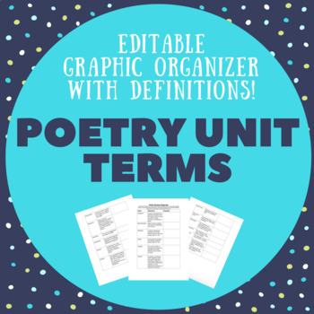 Poetry unit terms list with definitions