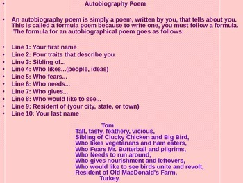 Poetry writing activity