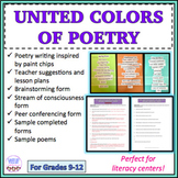 Poetry writing activity, hands-on activity, poetry, paint chips