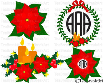 Poinsettia Christmas Floral Frame Cutting Files SVG PNG EPS dxf ClipArt 715C