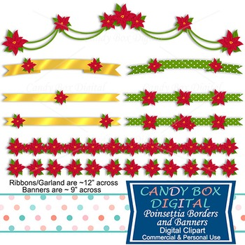 Poinsettia Christmas Holiday Digital Ribbons, Banners and Swag