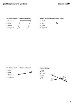 Point Line Plane Practice (Plicker)