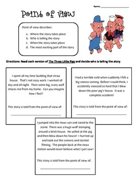 Point Of View Reading Homework Passage- Three Little Pigs
