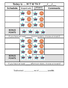 Point Sheet Behavior Contract 2 Reward Breaks with Bonus Opportunities