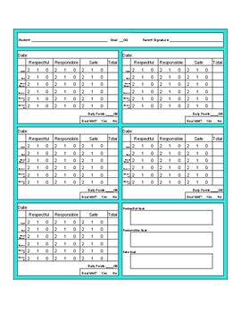 Point Sheet with Core classes and 2 electives