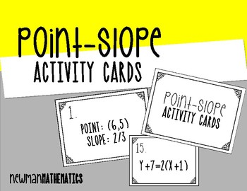 Point-Slope Activity Cards & Worksheet