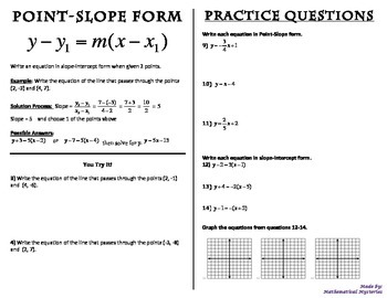 point slope form practice  Point-Slope Form Booklet