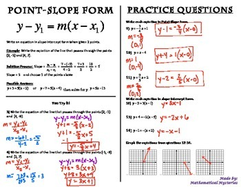 Point-Slope Form Booklet
