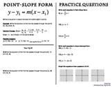 Point-Slope Form Booklet