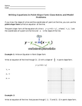 point slope form notes  Point-Slope Form Class Notes