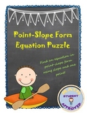 Point Slope Form, Creating Equation Puzzle Fun Activity
