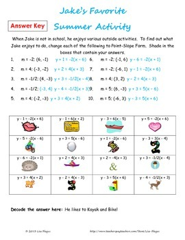 point slope form activity  Point Slope Form, Creating Equation Puzzle Fun Activity