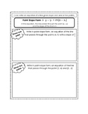 Point Slope Form Notes Page