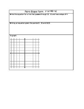Point-Slope Form INB sheet